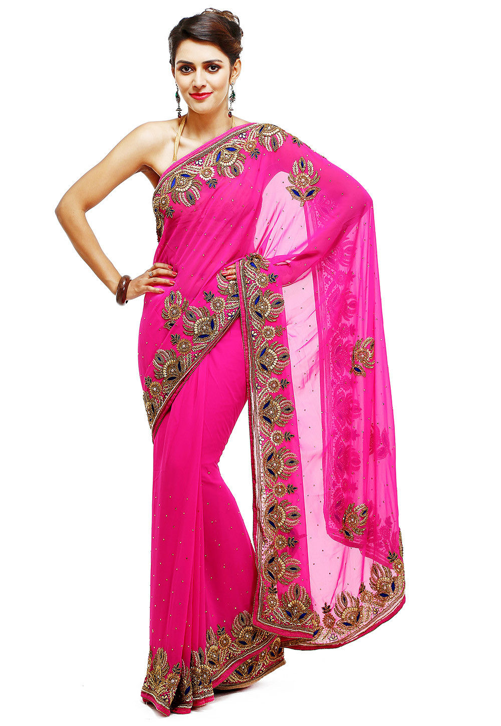 Hand embroidered georgette saree in fuchsia sar