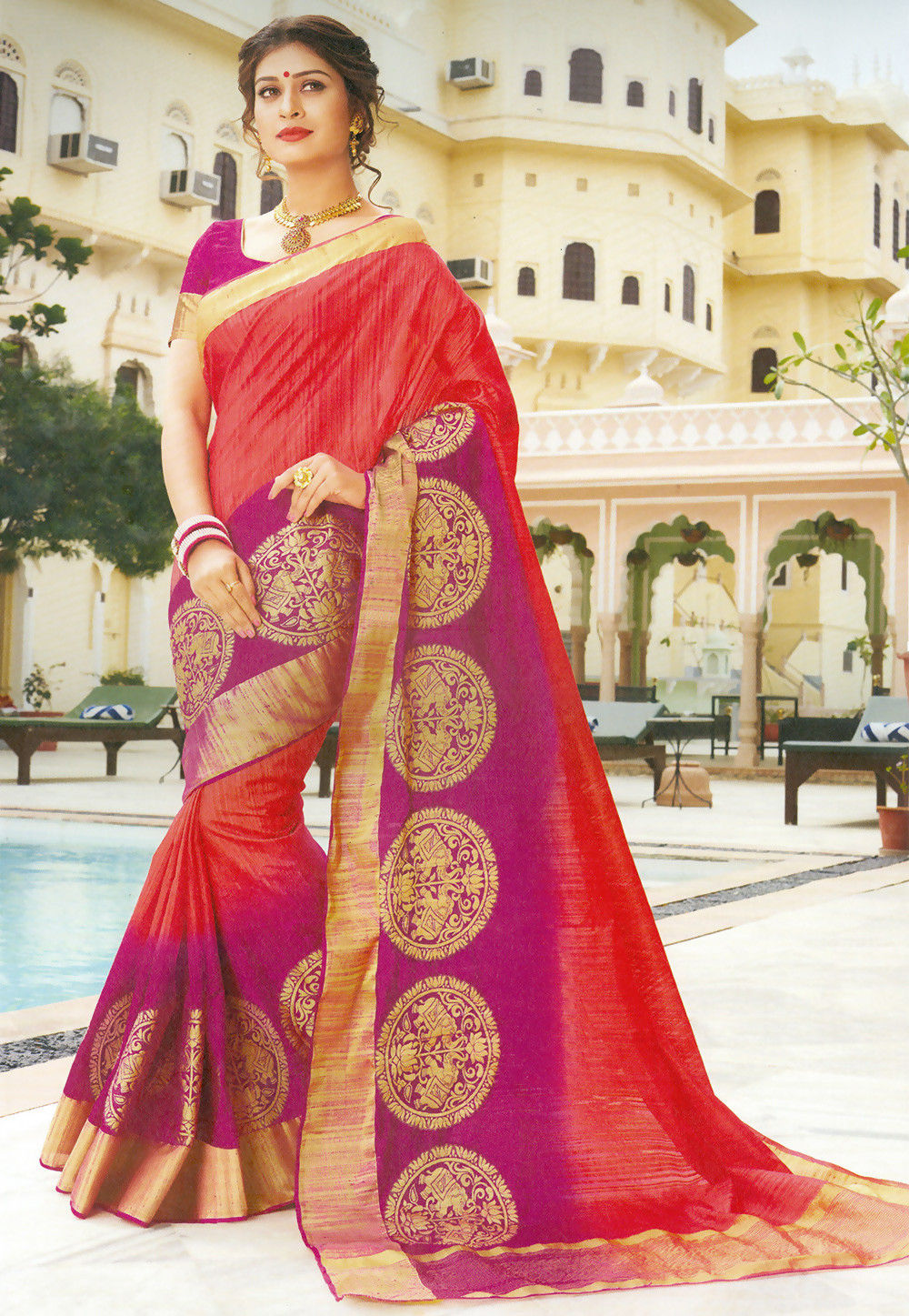 Ombre Art Silk Saree in Red and Magenta