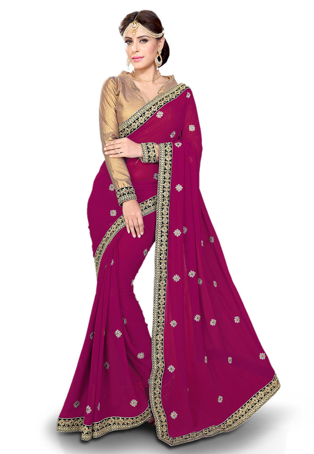 Embroidered Georgette Saree in Magenta