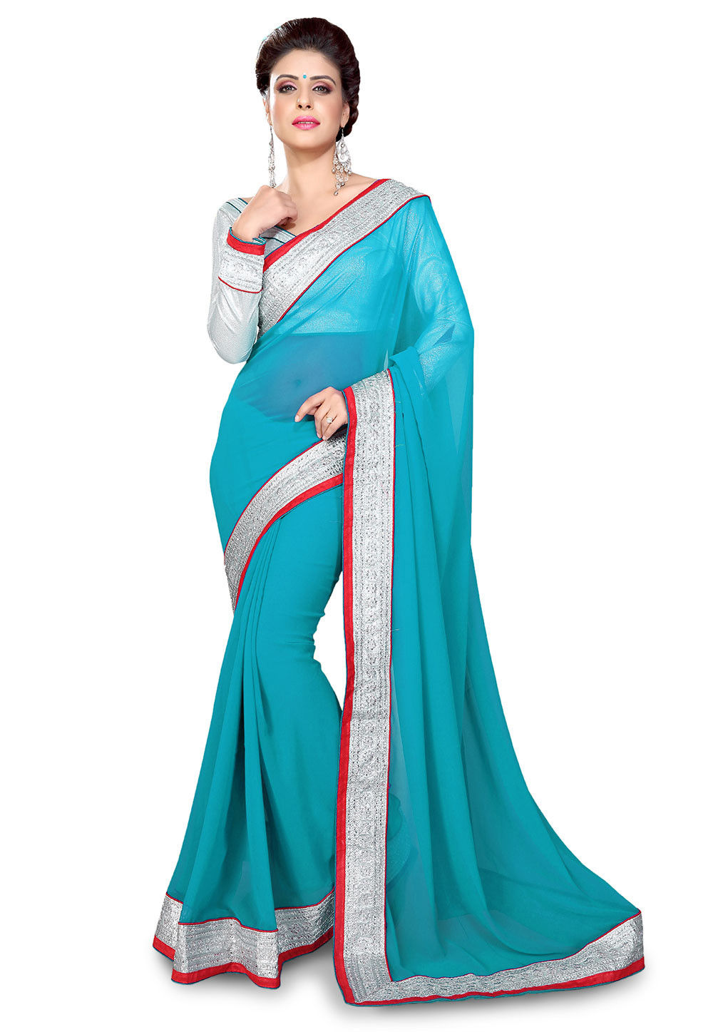 Embroidered Patch Border Georgette Saree in Blue