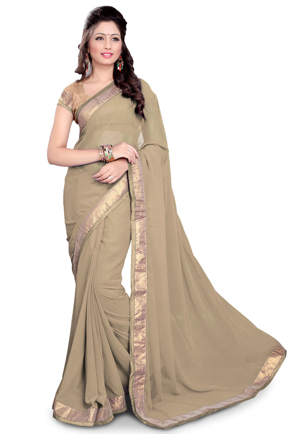 Patch Border Georgette Saree in Beige