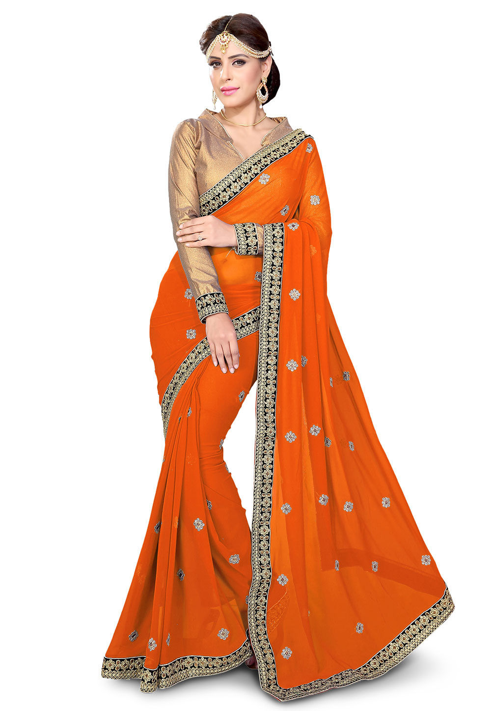 Embroidered Georgette Saree in Rust