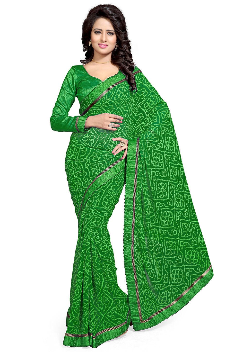 Bandhej Printed Georgette Saree in Green