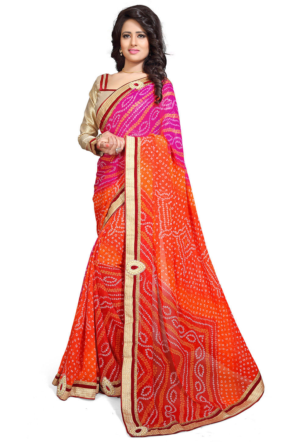 Bandhej Printed Georgette Saree in Pink and Orange