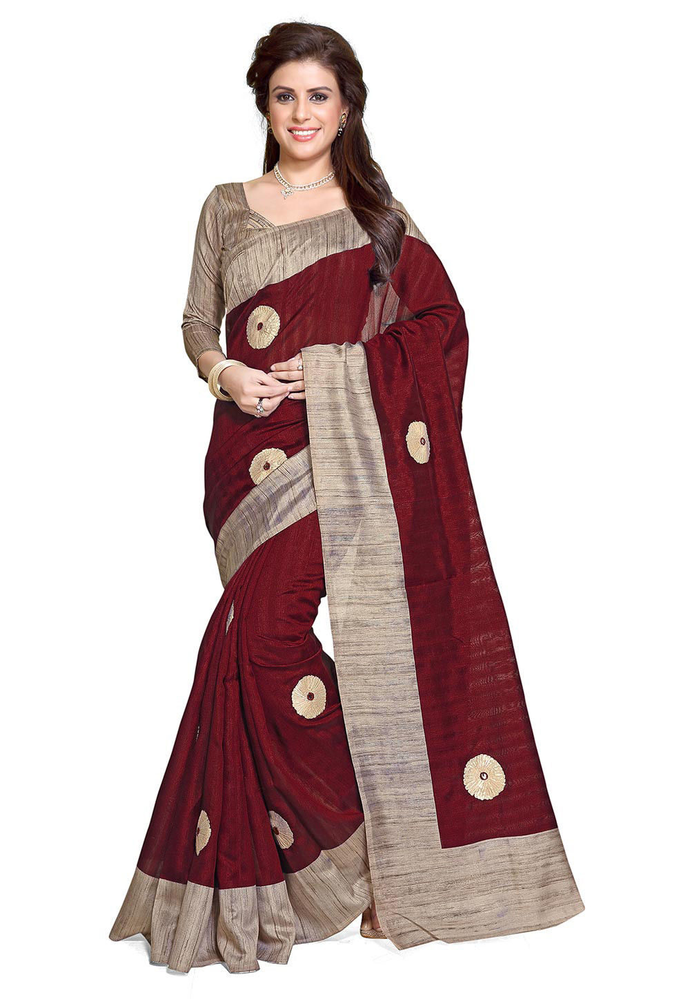 Embroidered Bhagalpuri Silk Saree in Maroon