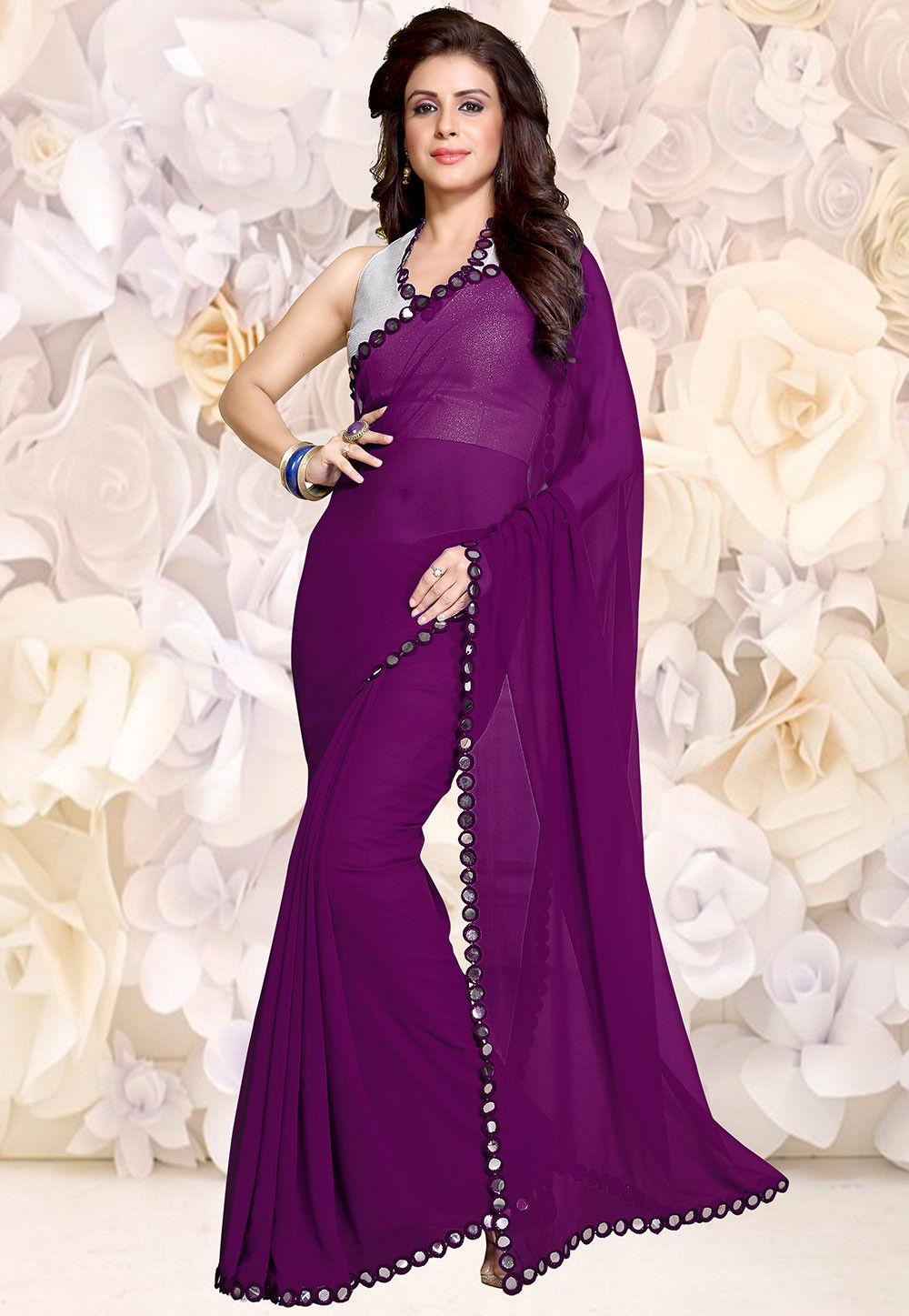 Embroidered Border Georgette Saree in Violet