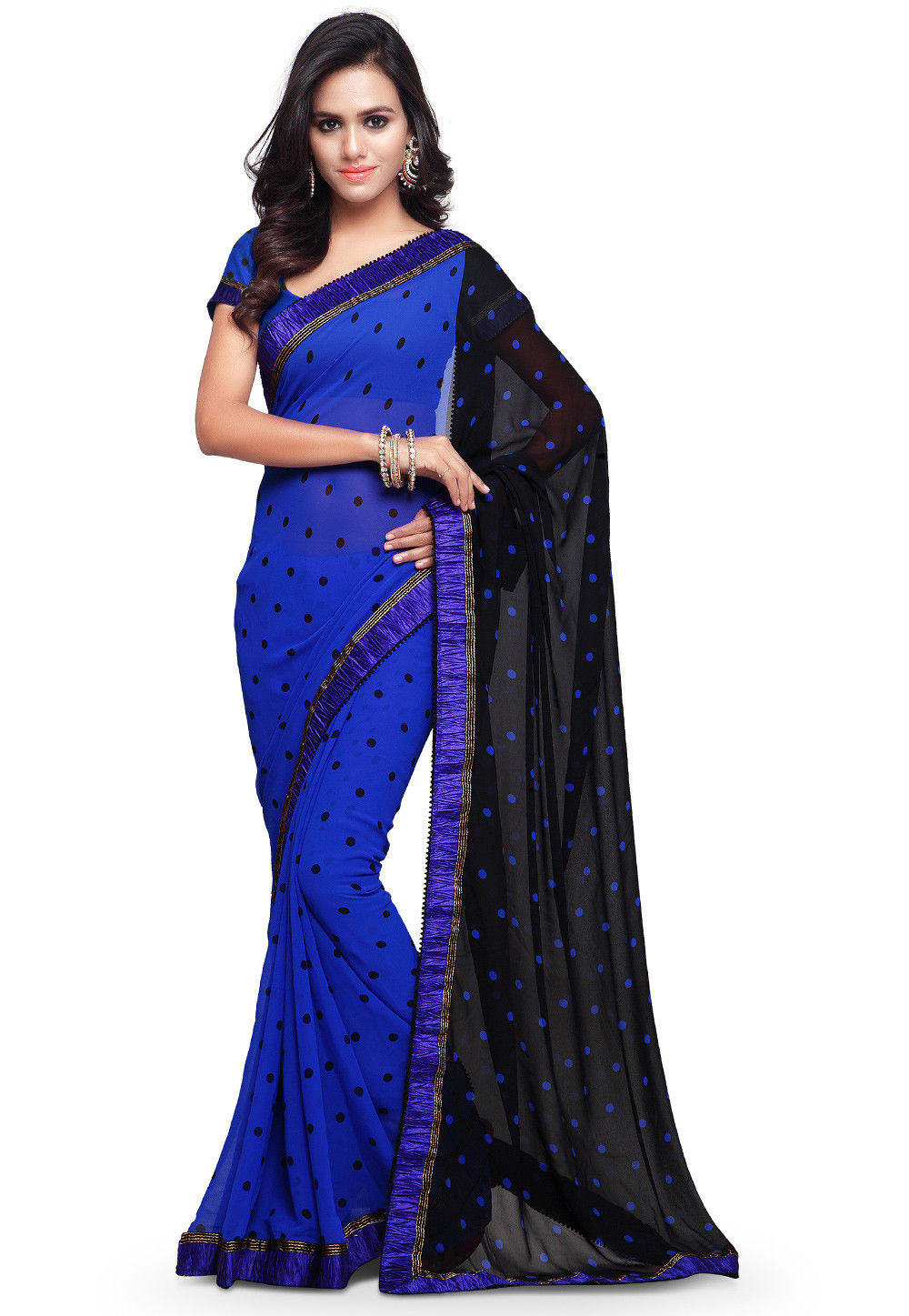 Printed Georgette Saree in Blue and Black
