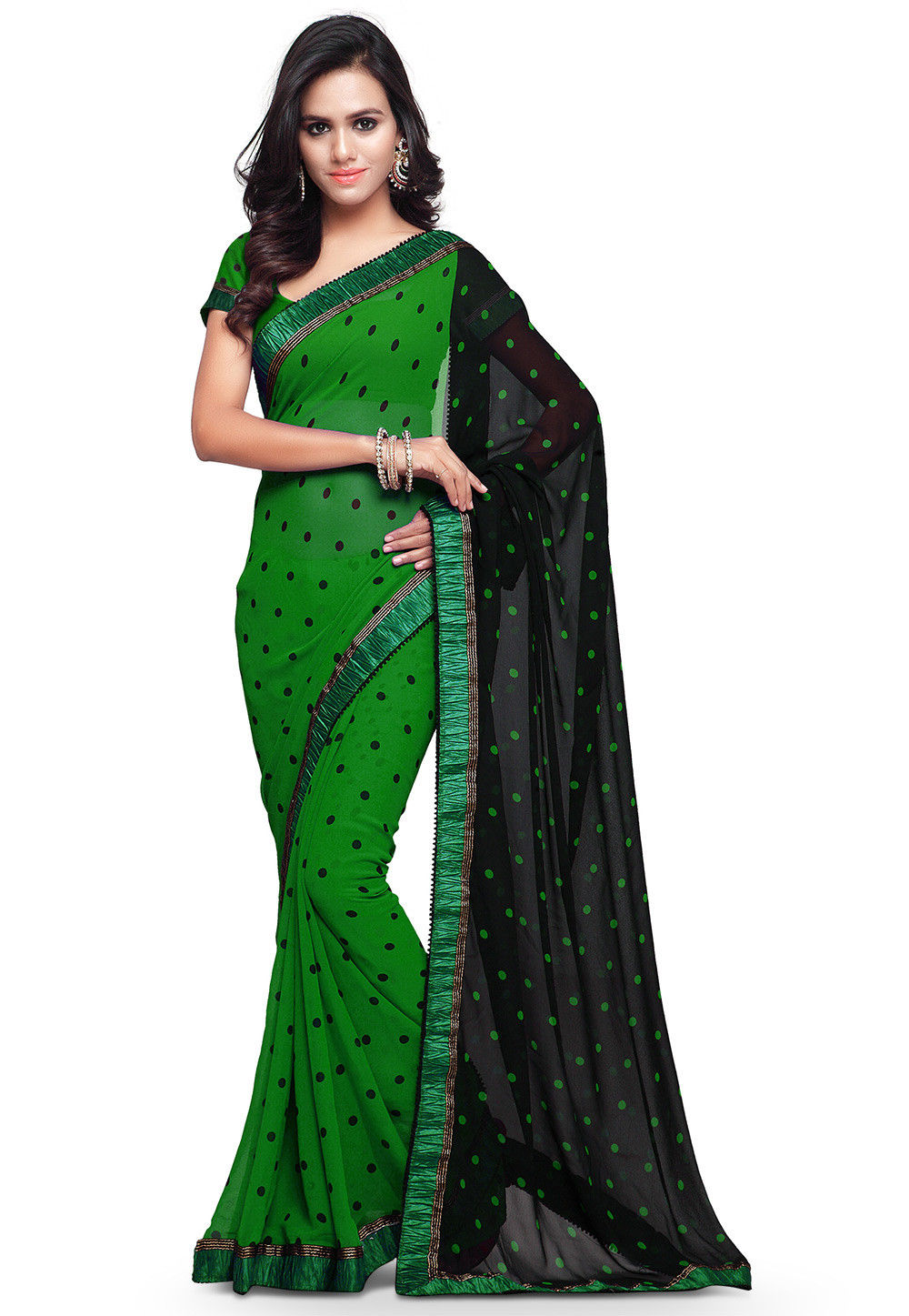 Printed Georgette Saree in Green and Black