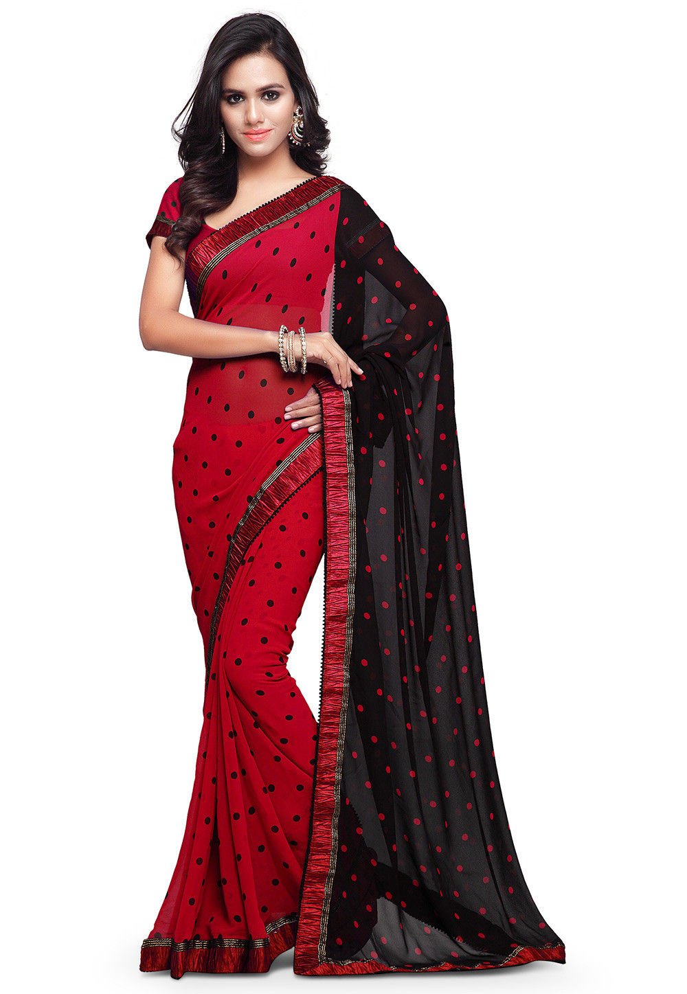 Printed Georgette Saree in Red and Black