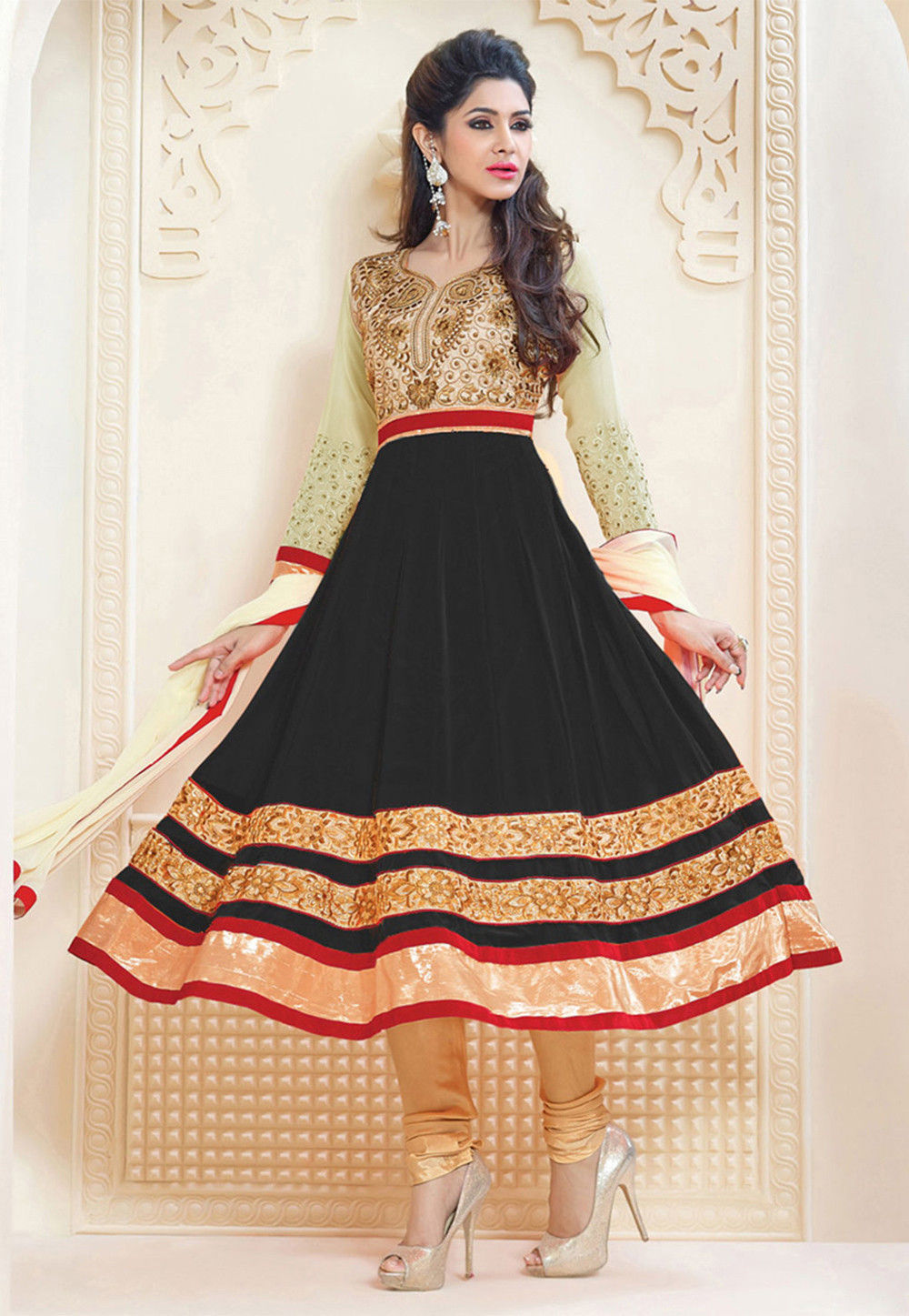 10ab608ba Embroidered Georgette Anarkali Suit in Black and Beige   SBH1656
