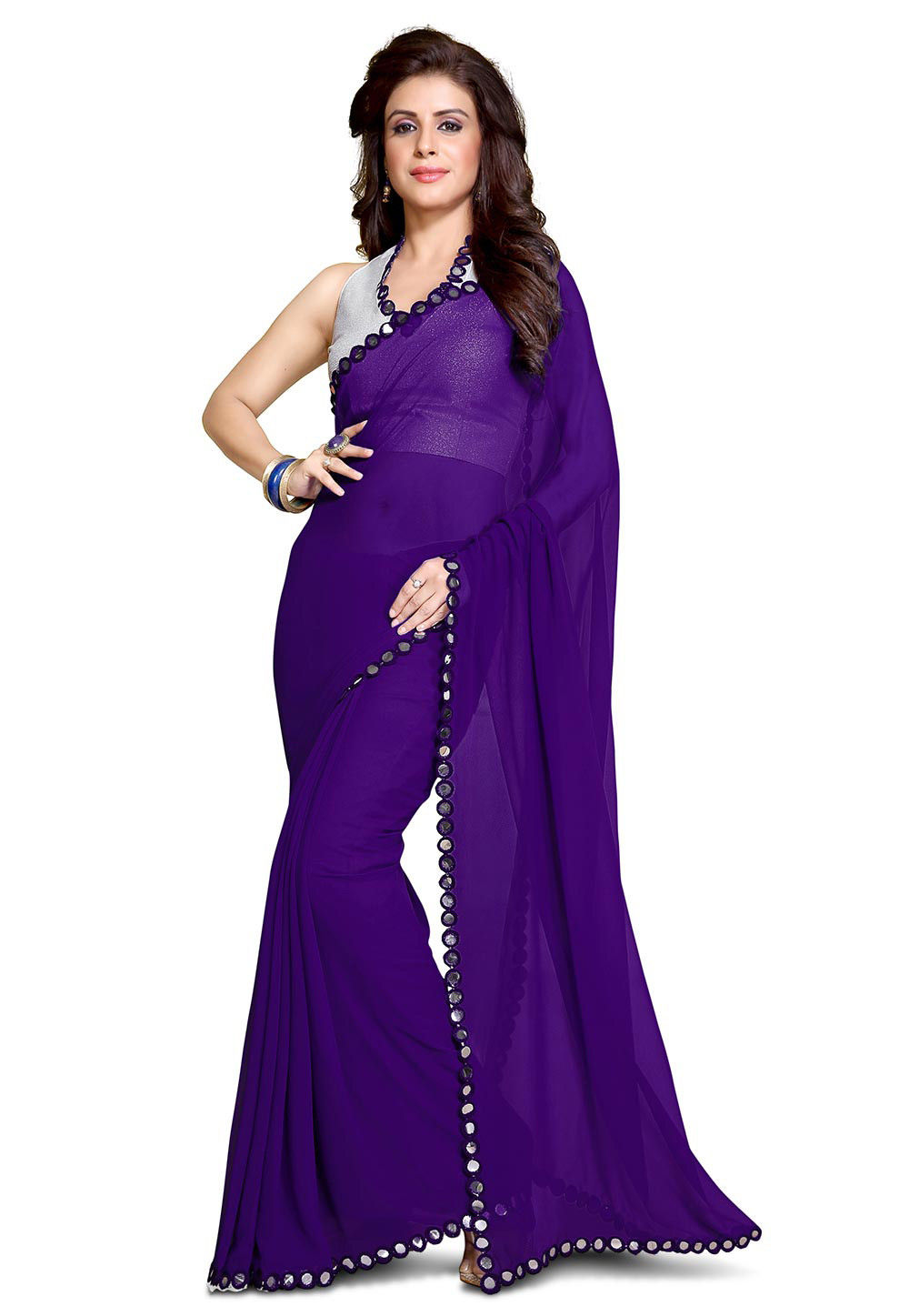 Lace Border Georgette Saree in Violet