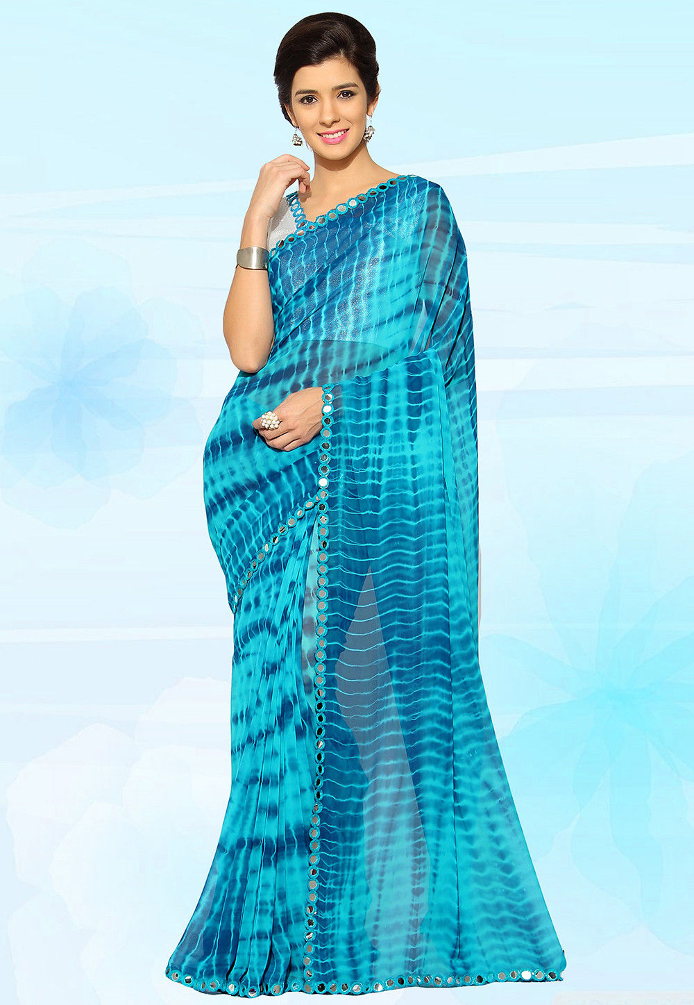 Tye N Die Georgette Saree in Blue