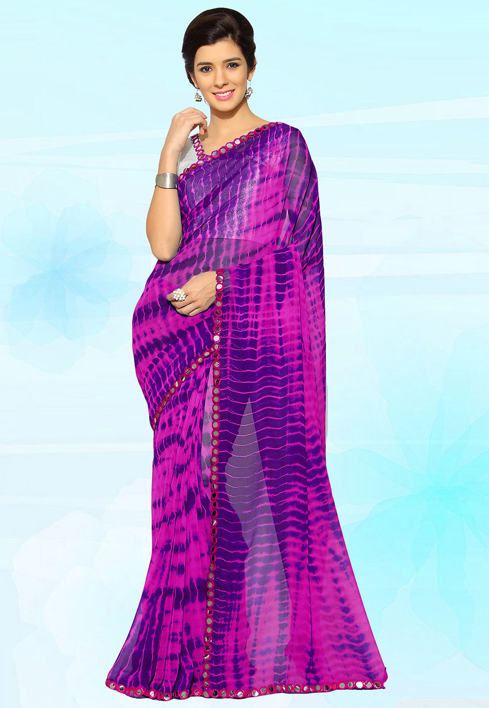 Tye N Die Georgette Saree in Fuchsia