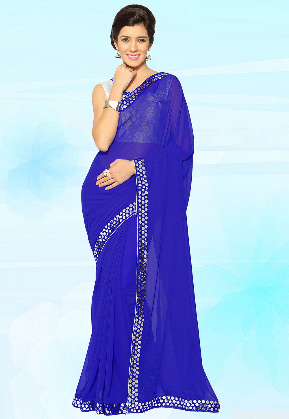 Georgette Saree in Royal Blue