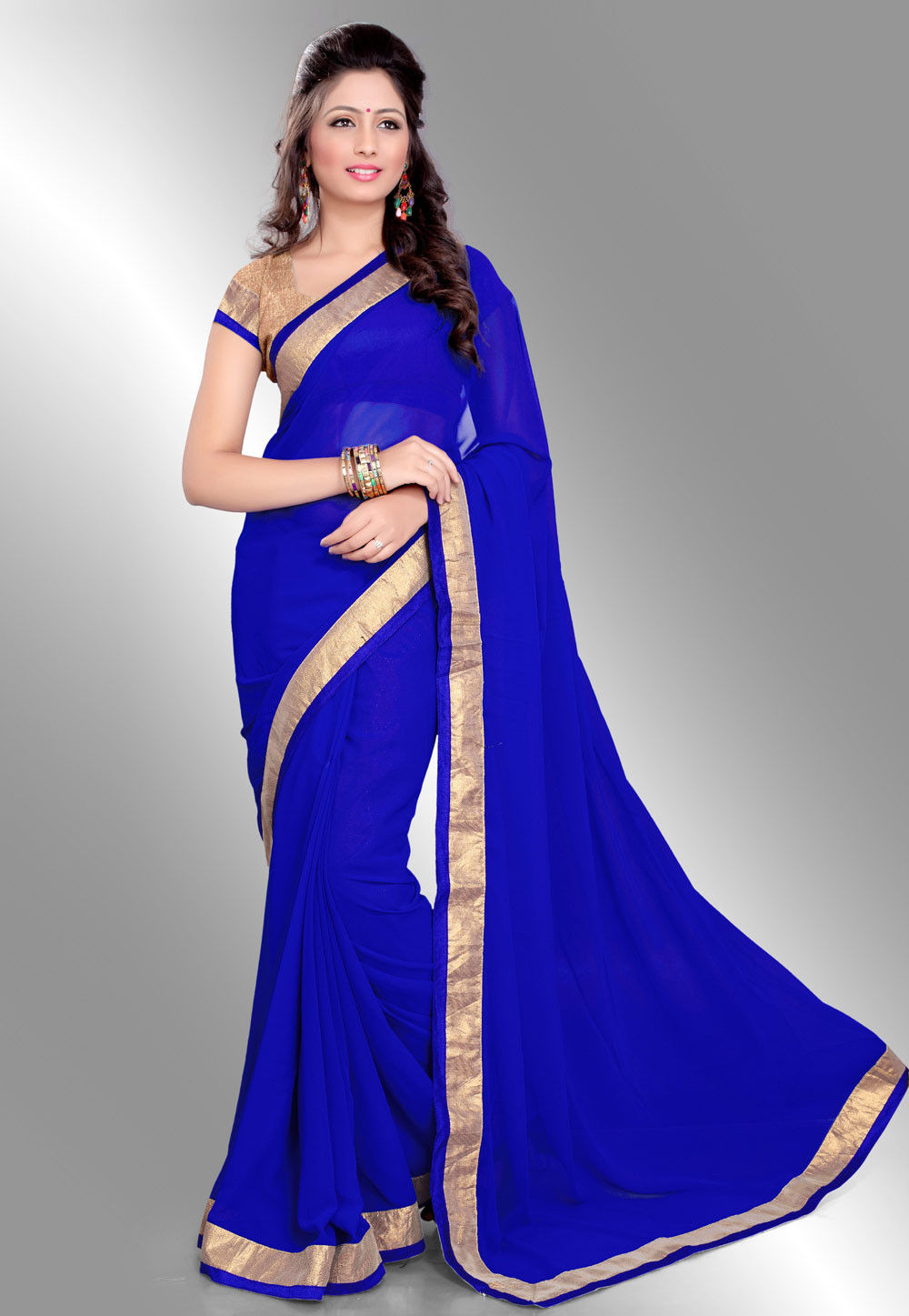 Patch Border Georgette Saree in Blue