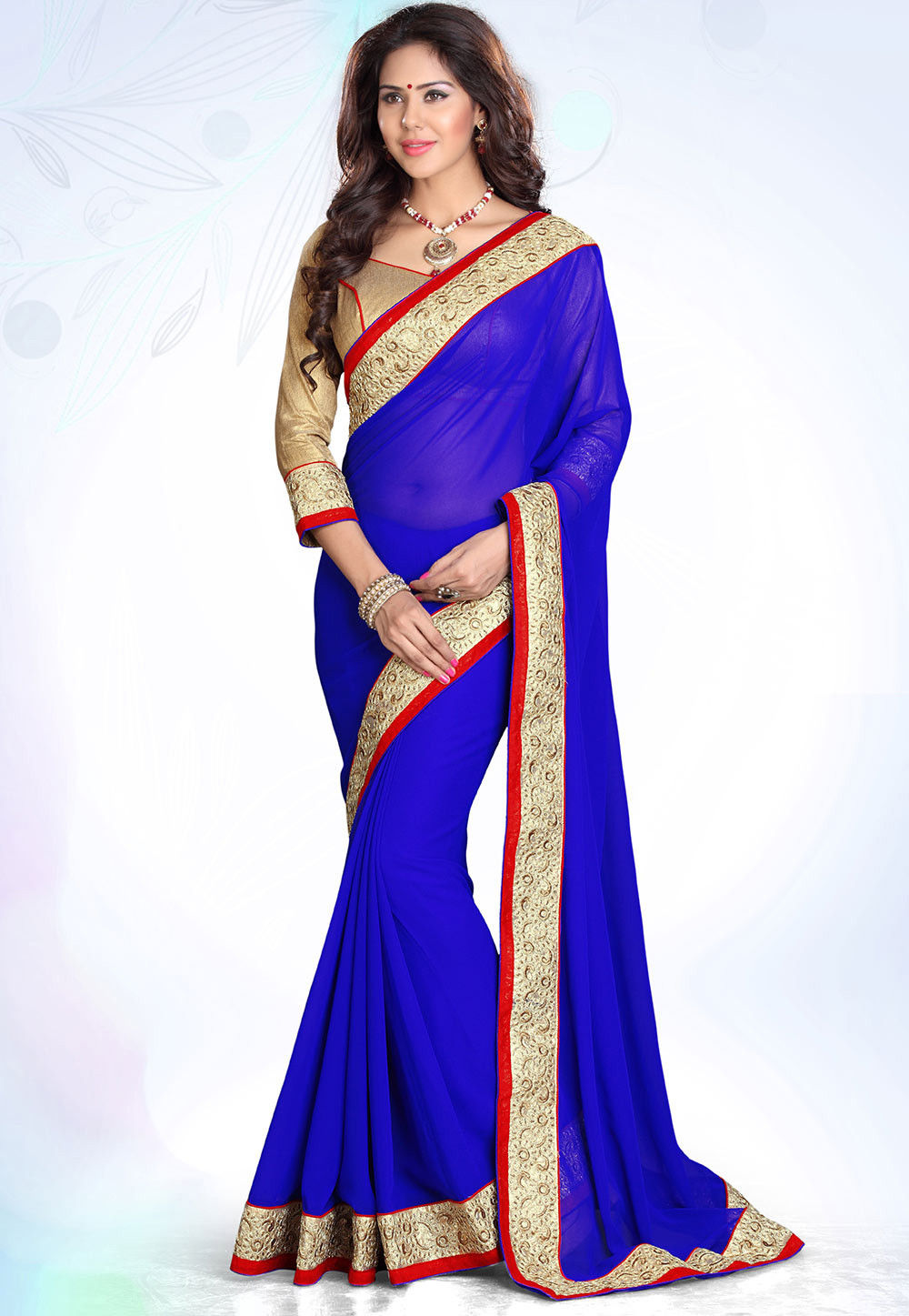 Patch Border Georgette Saree in Violet