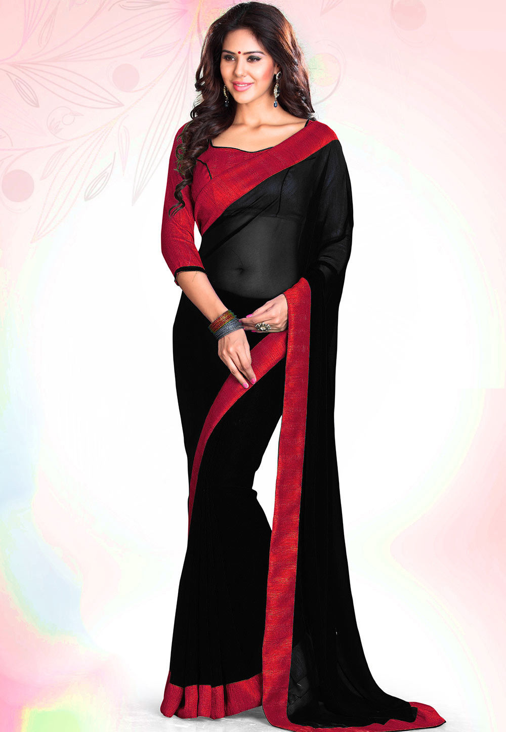 Contrast Patch Border Georgette Saree in Black