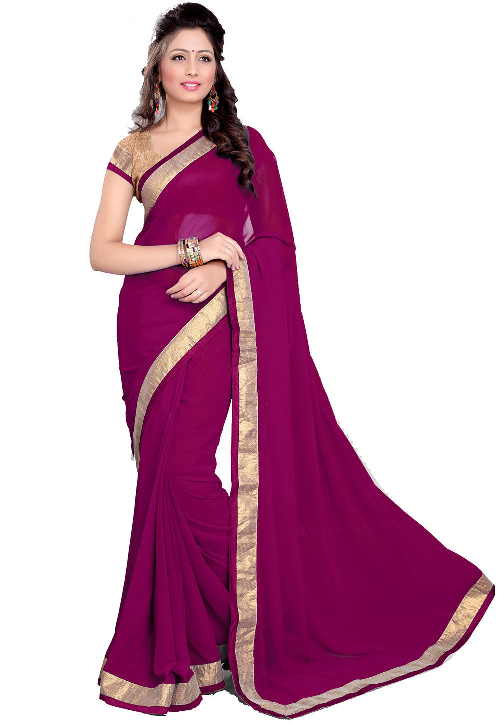 Contrast Patch Border Georgette Saree in Magenta