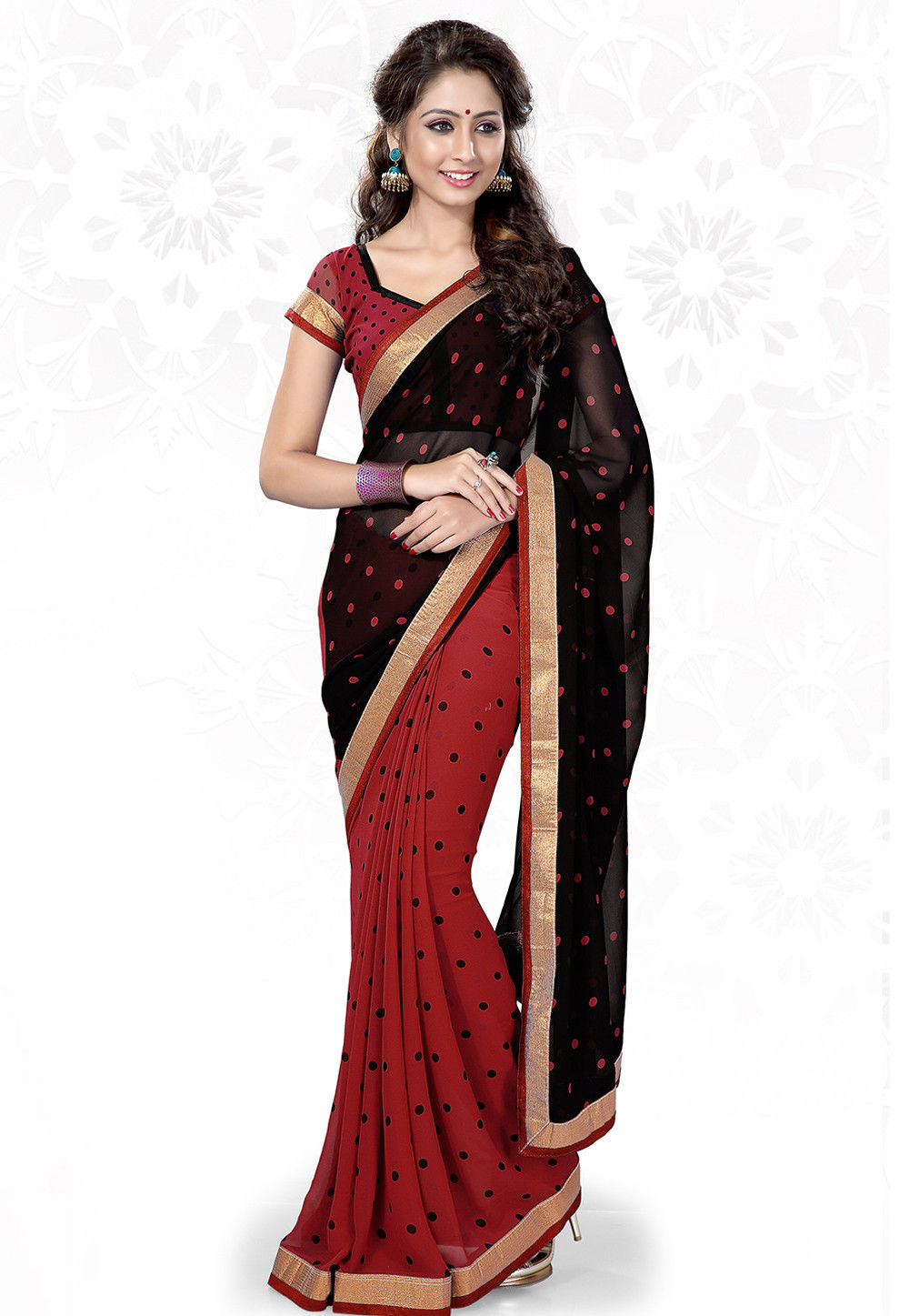 Half N Half Georgette Saree in Black and Red