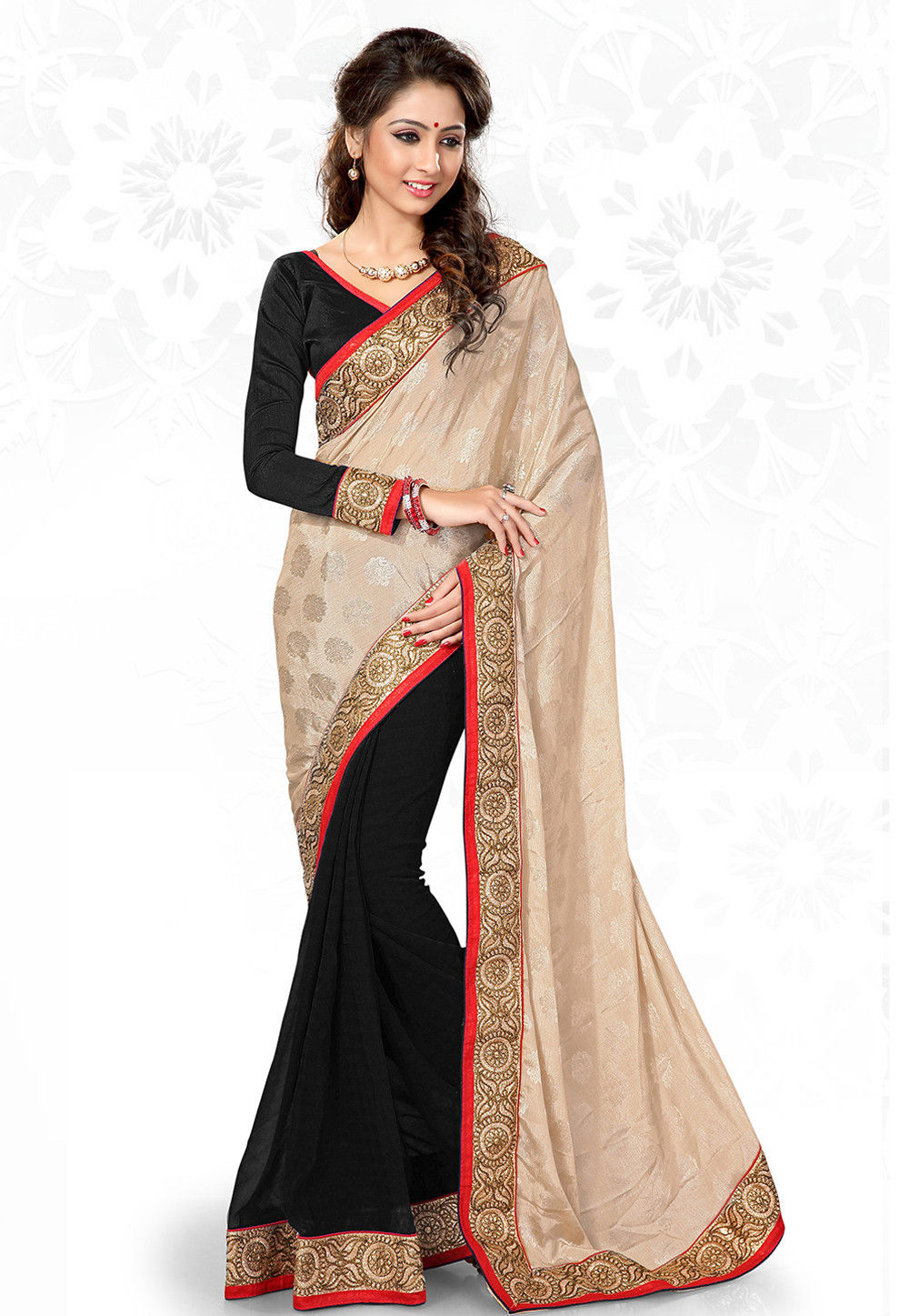 Half N Half Chiffon Jacquard in Beige and Black