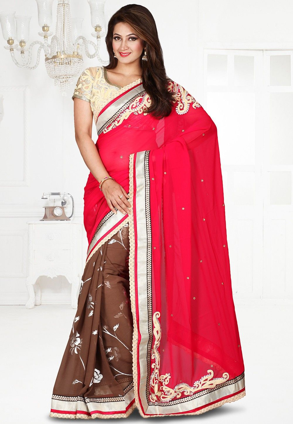 Half N Half Embroidered Chiffon Saree in Fuchsia and Brown