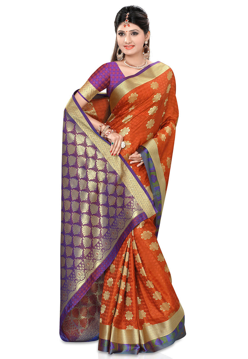 Woven Kanchipuram Saree in Rust
