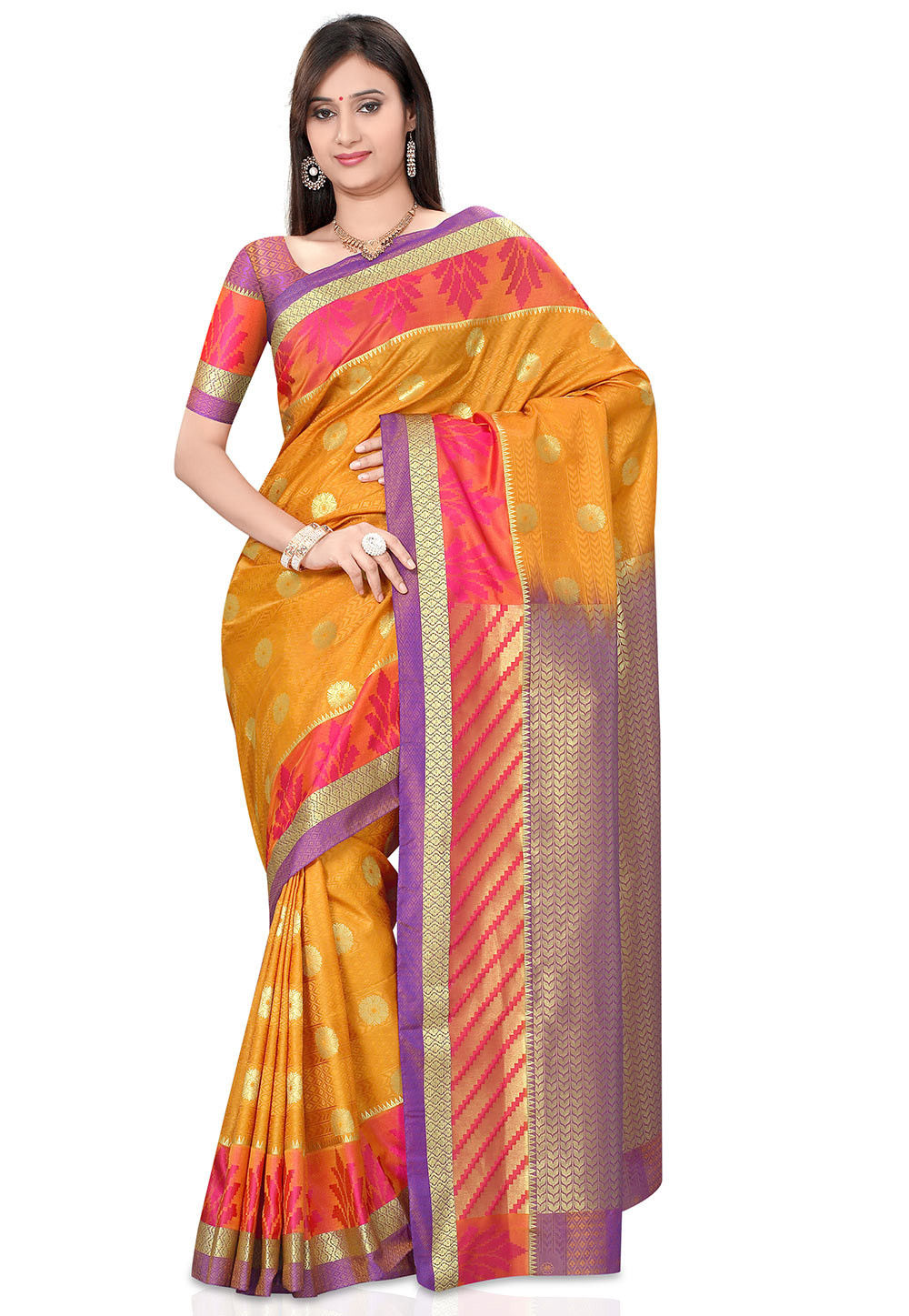 Woven Kanchipuram Saree in Mustard