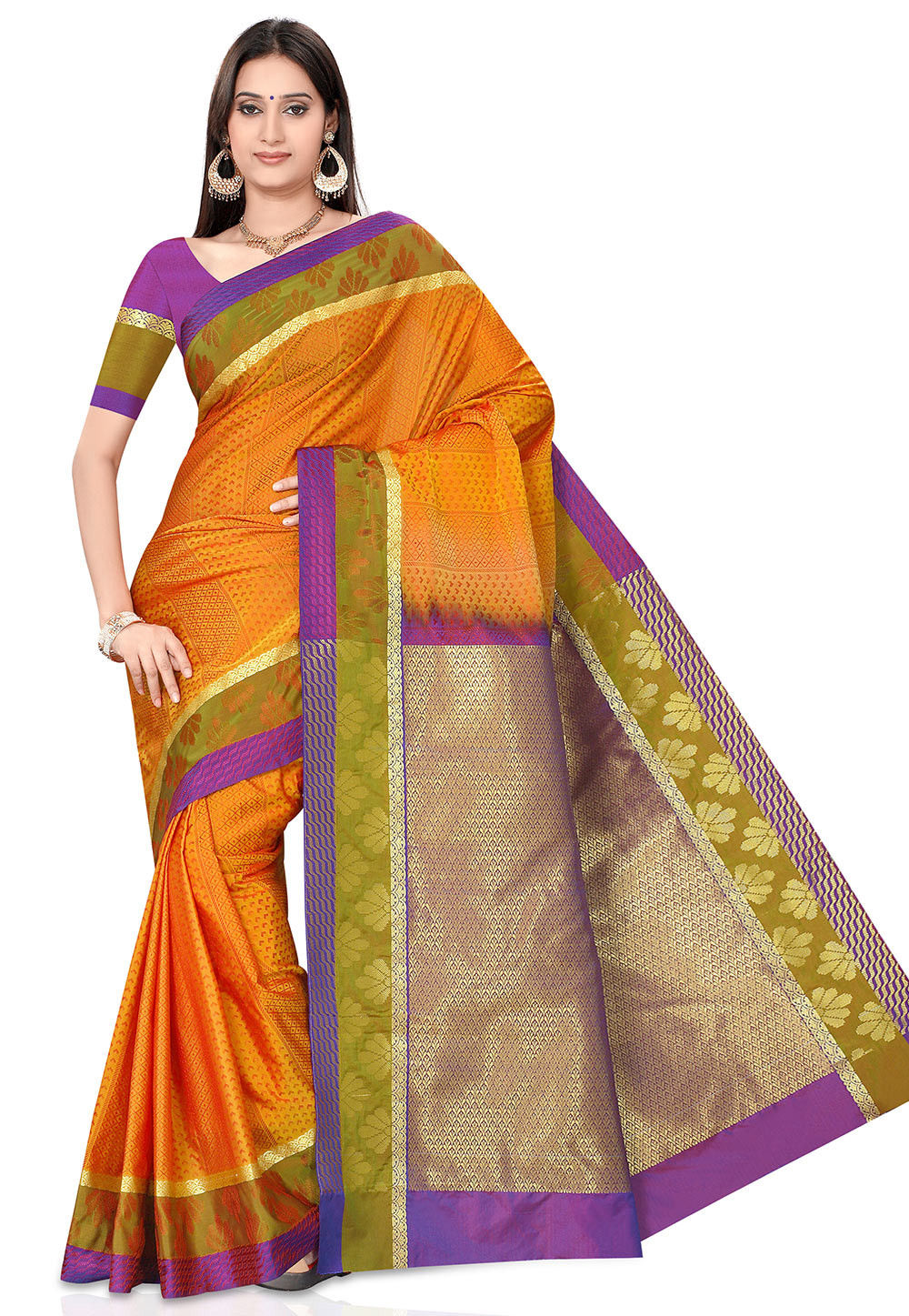 Woven Kanchipuram Saree in Orange
