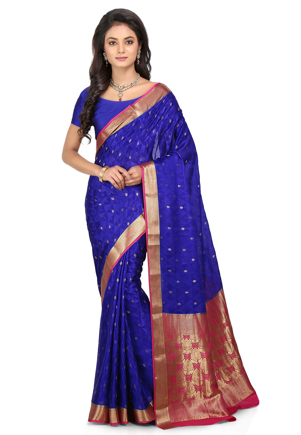 Woven Pure Mysore Silk Saree in Royal Blue