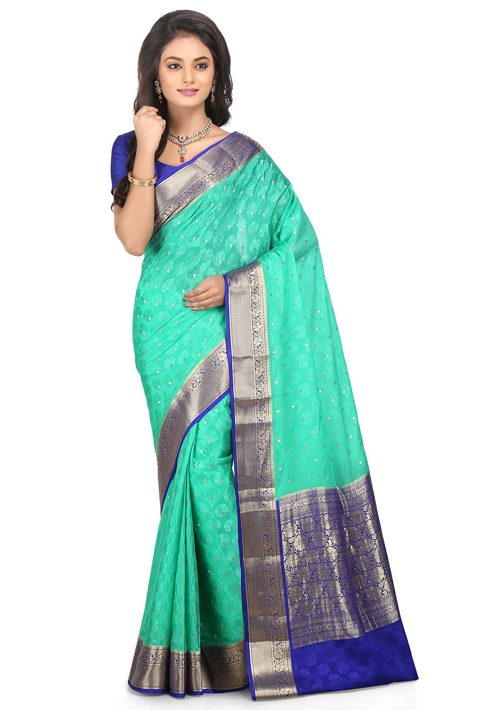 798603ab56 ... Woven Pure Mysore Silk Saree in Turquoise. Zoom