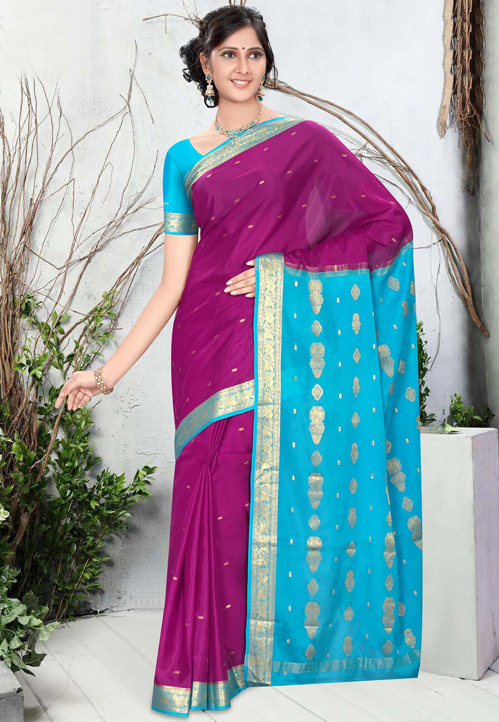 Pure Mysore Silk Saree in Magenta