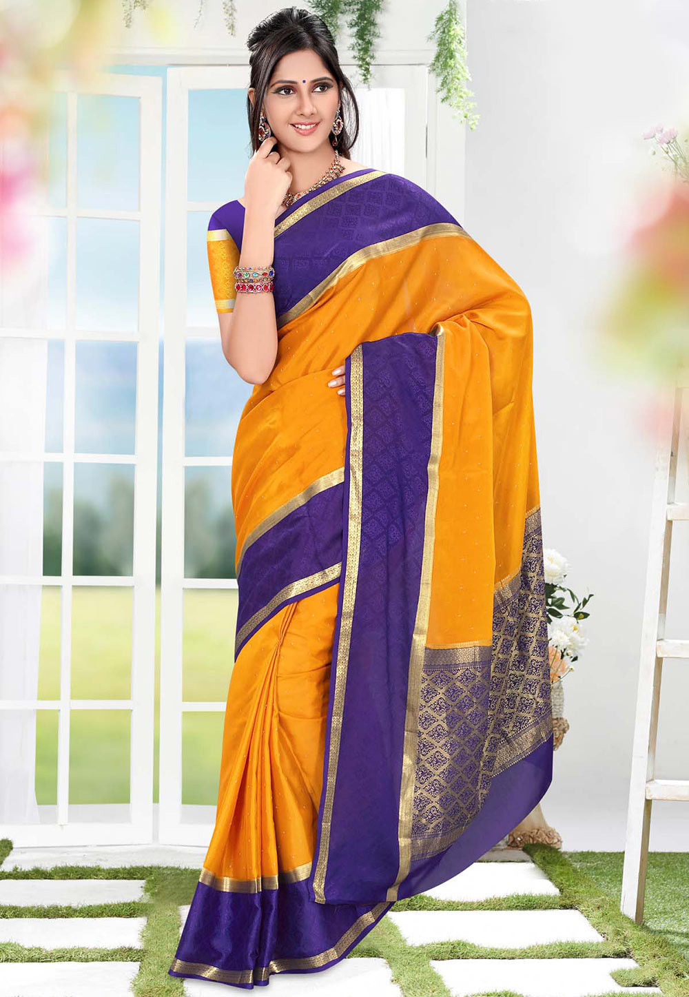 Pure Mysore Silk Saree in Orange
