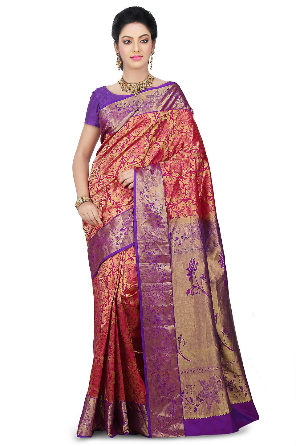 Kanchipuram Saree in Golden and Fuchsia