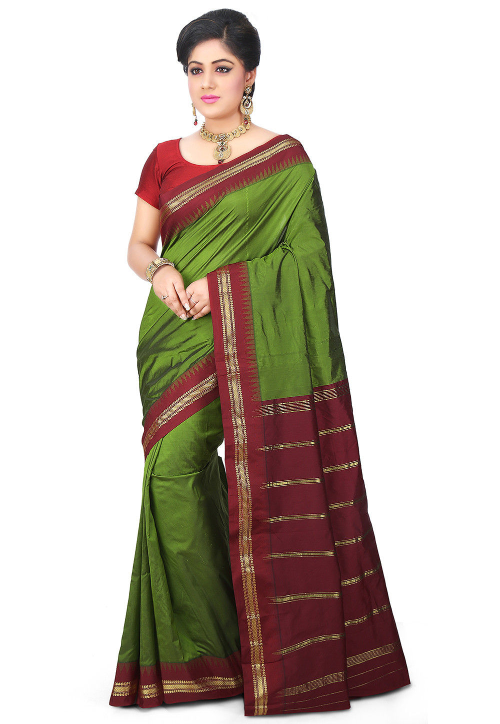 Kanchipuram Saree in Olive Green