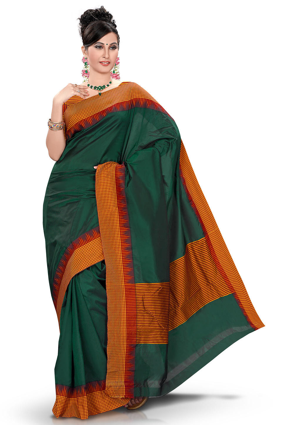 Woven Kanchipuram Saree in Dark Green