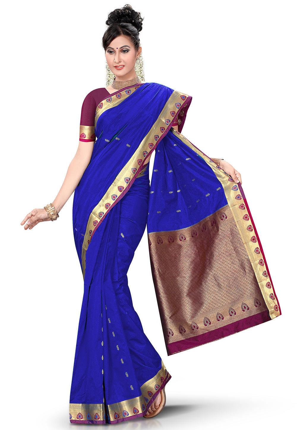 Woven Kanchipuram Saree in Blue