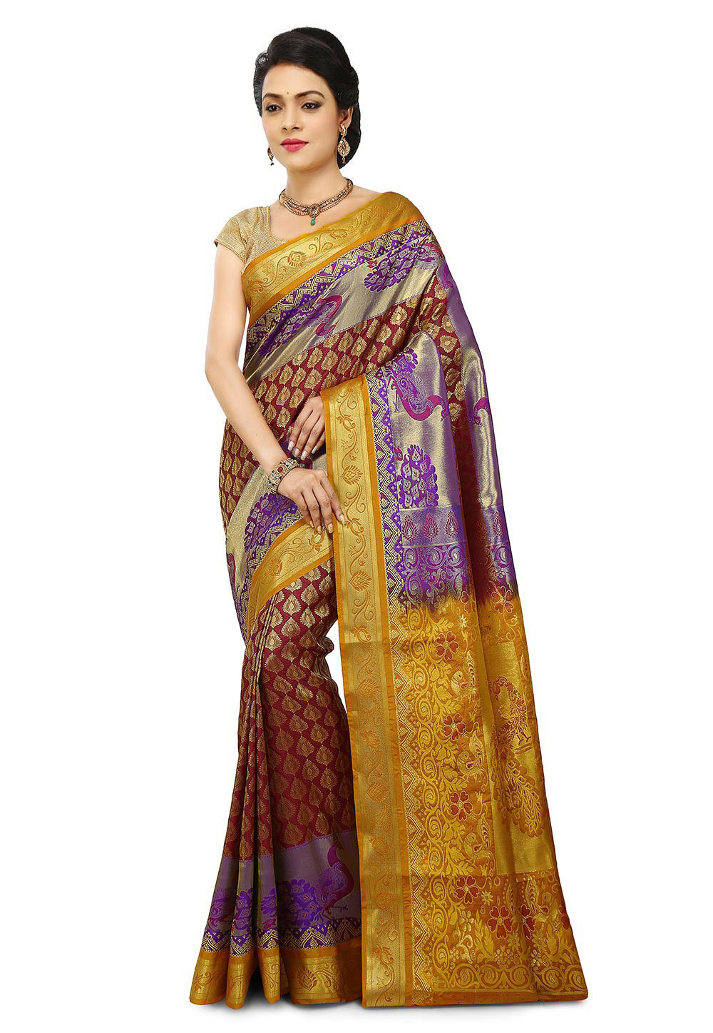 Kanchipuram Saree in Maroon