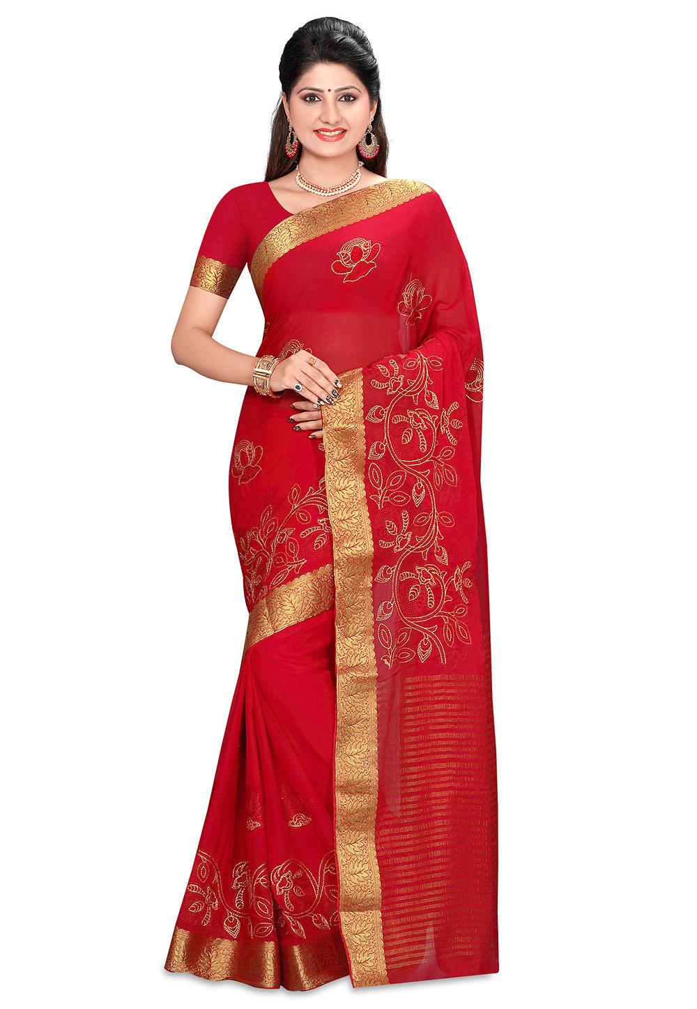 Embroidered Mysore Chiffon Saree in Red