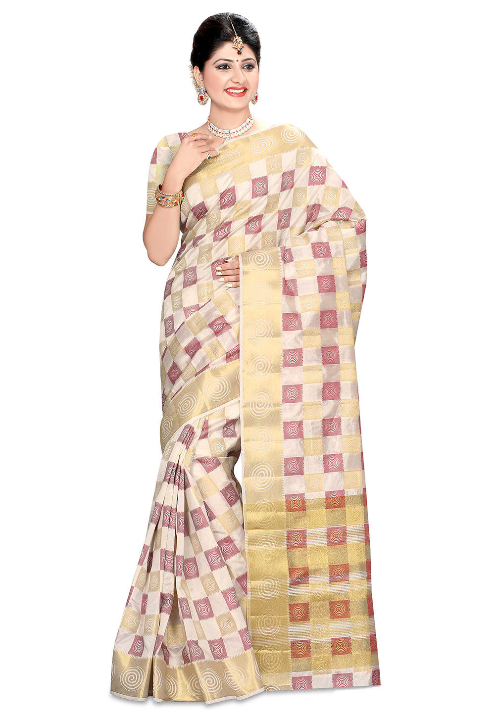 Woven Bangalore Silk Saree in Light Beige