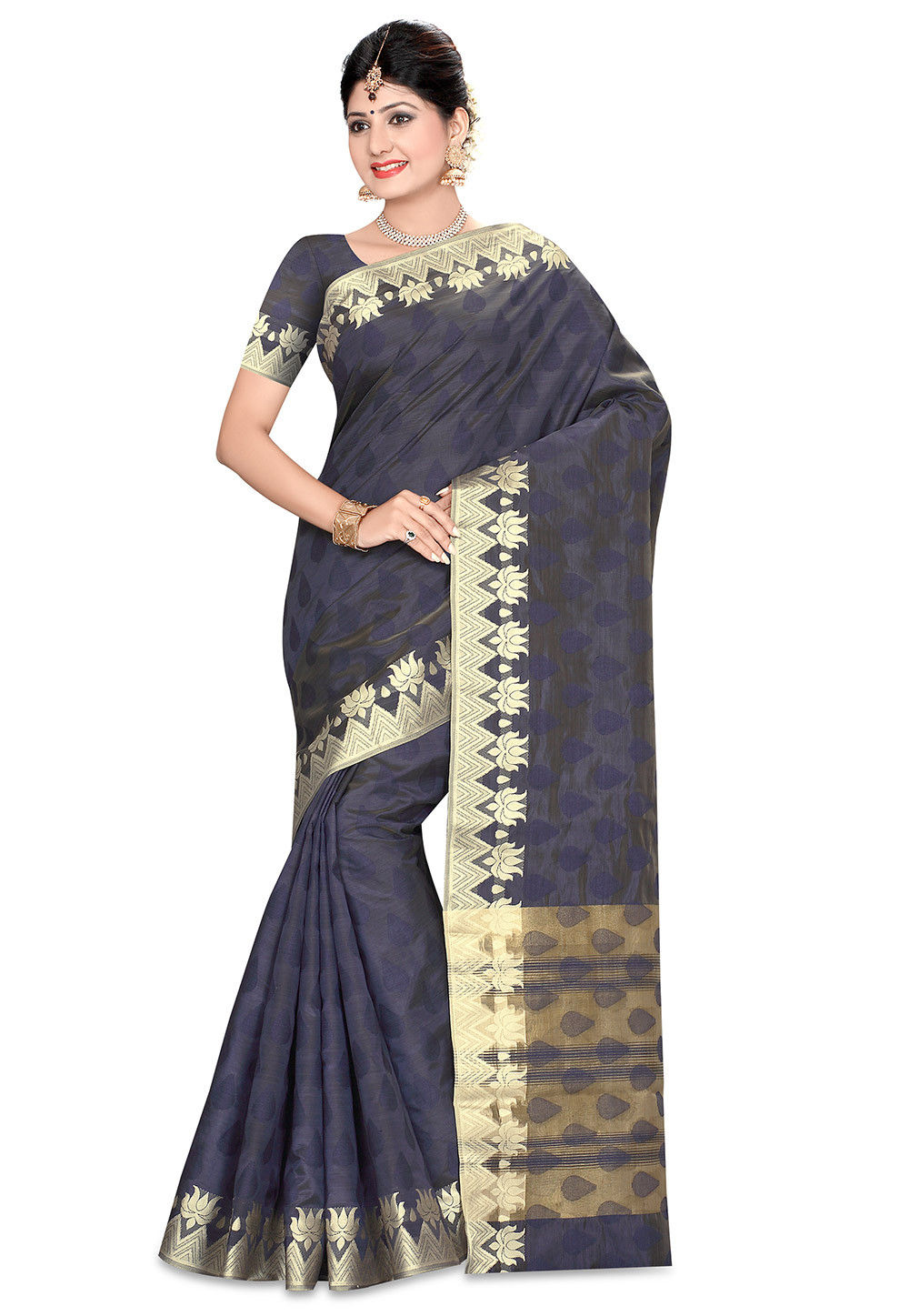 Woven Bangalore Silk Saree in Navy Blue