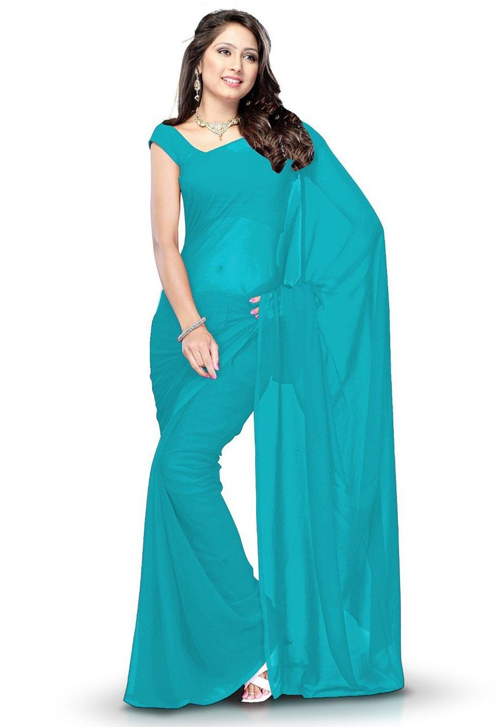 Plain Georgette Saree in Teal Blue