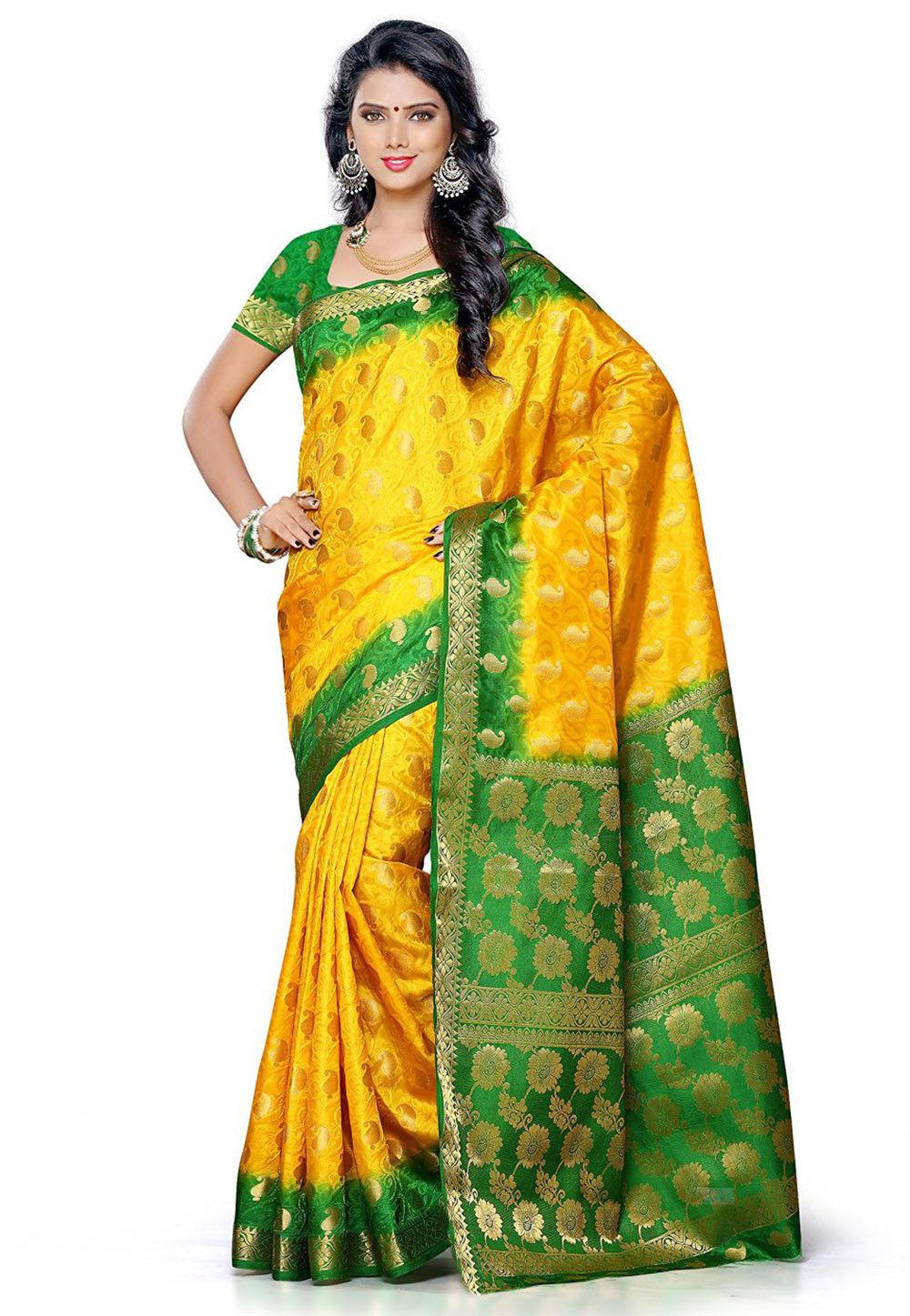 Kanchipuram Art Silk Saree in Yellow