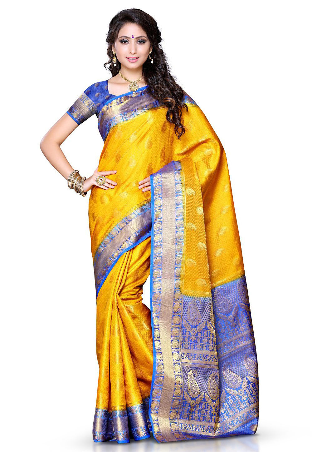 Kanchipuram Art Silk Saree in Yellow