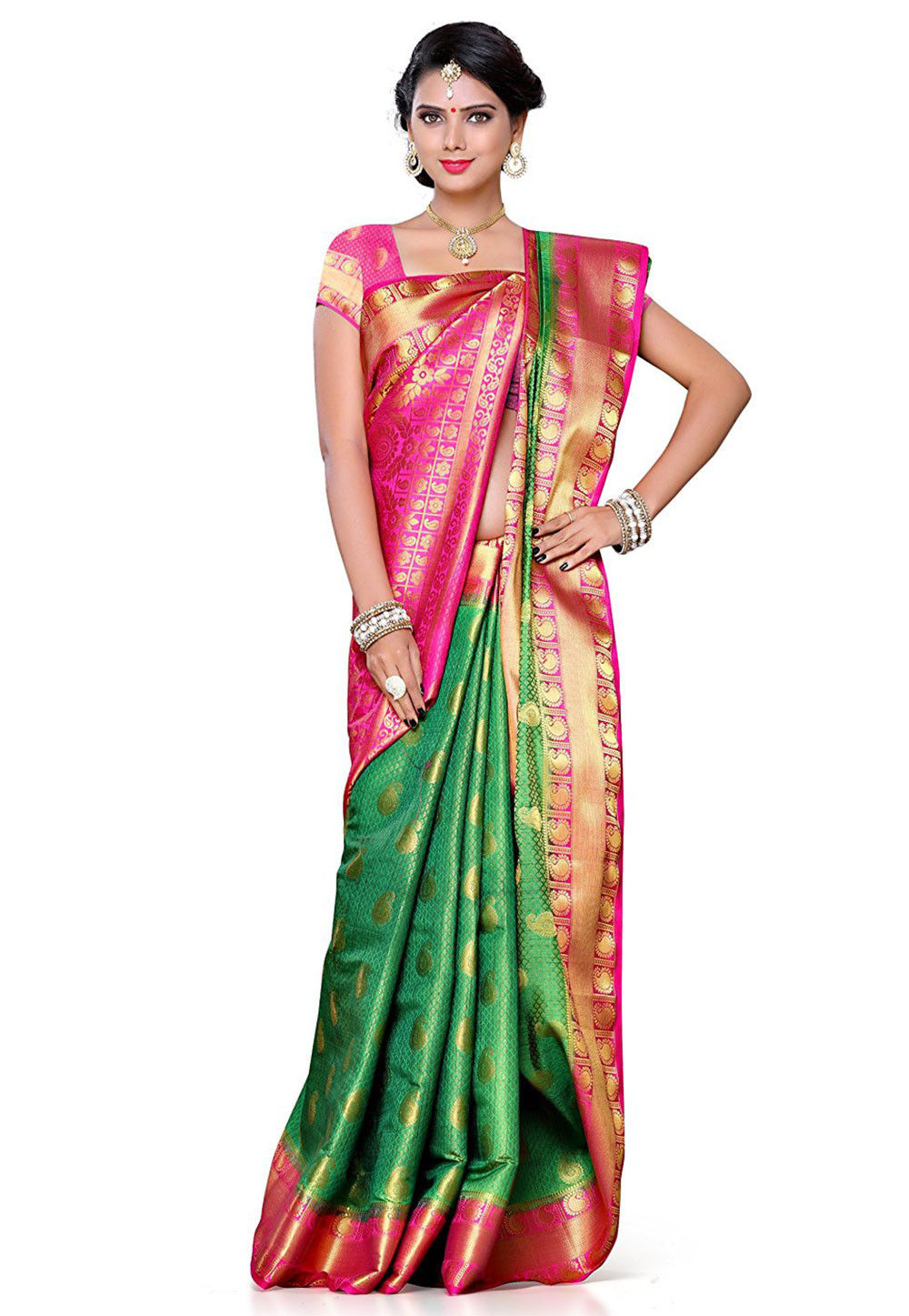 Kanchipuram Art Silk Saree in Green