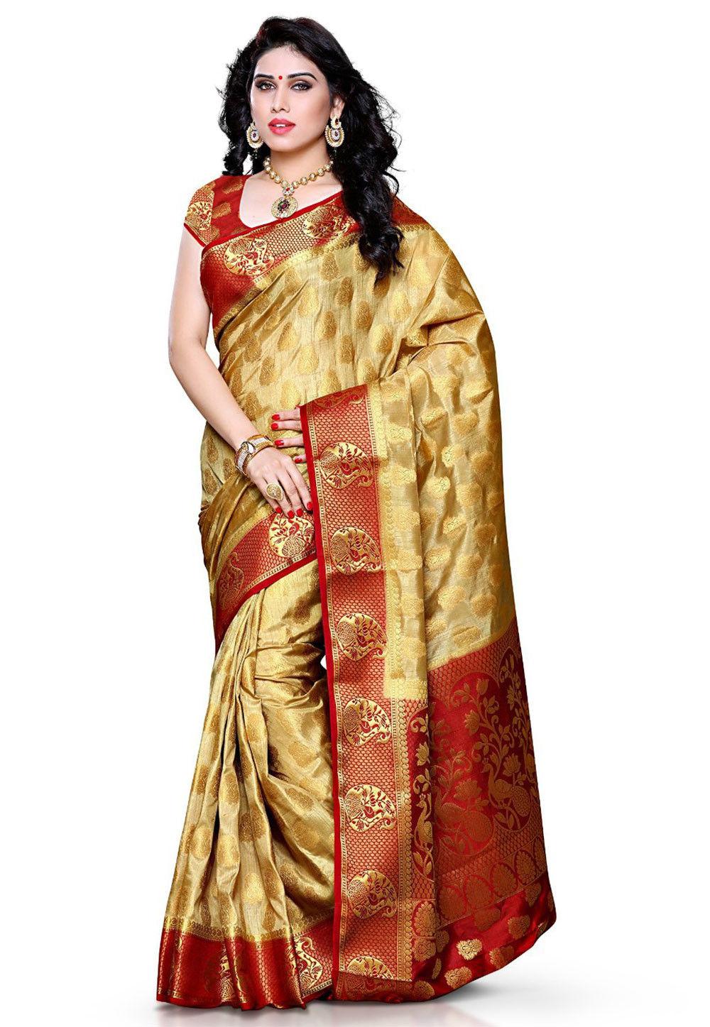 Kanchipuram Art Silk Saree in Beige
