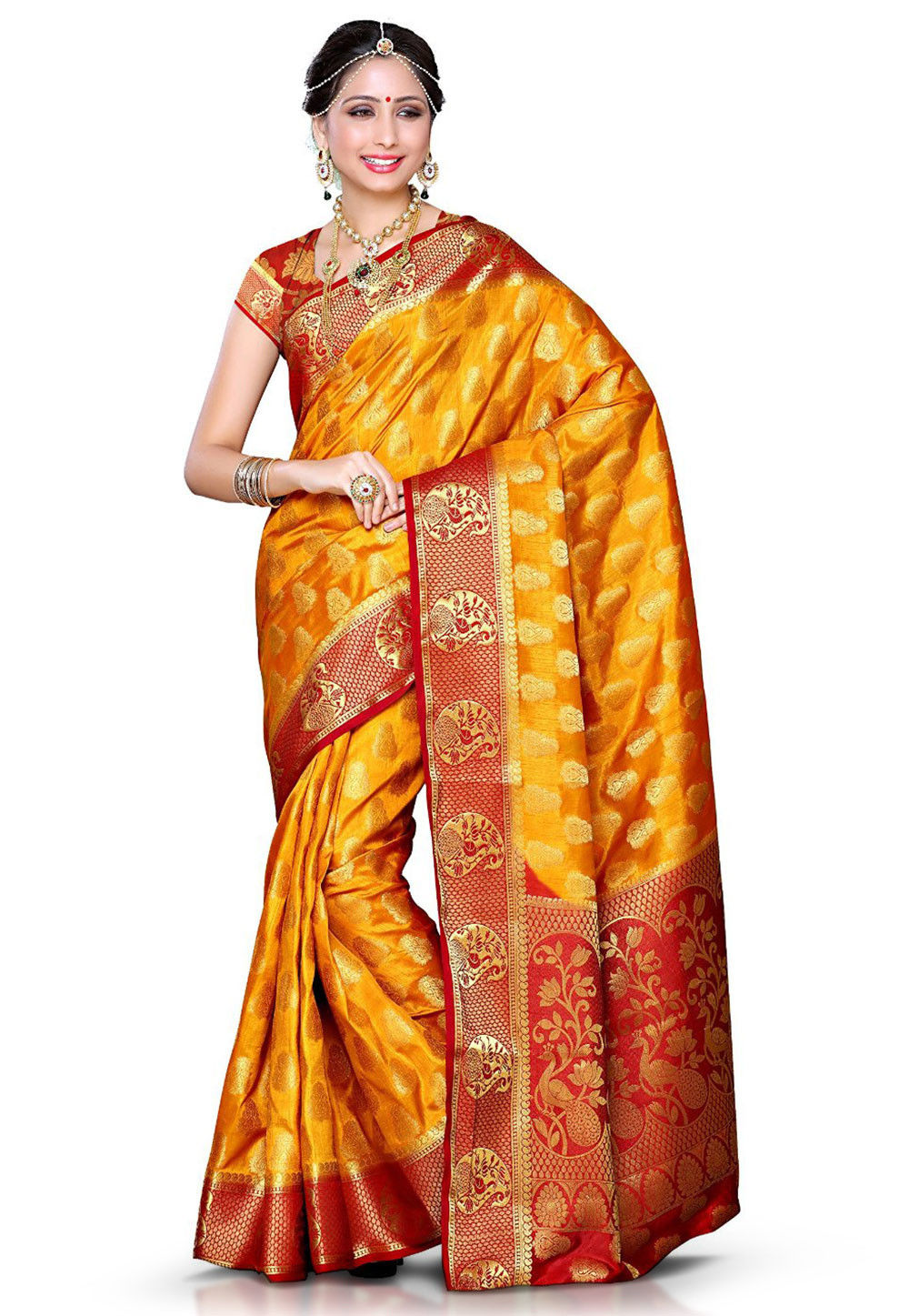 Kanchipuram Art Silk Saree in Mustard
