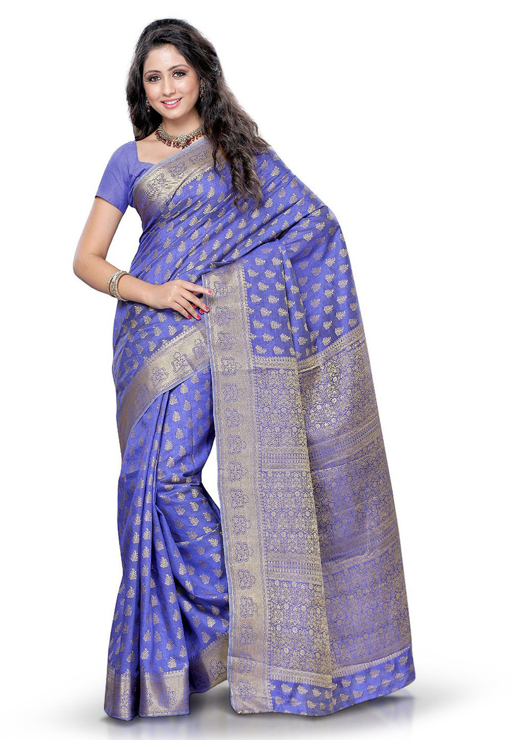 Woven Tussar silk saree in Purple