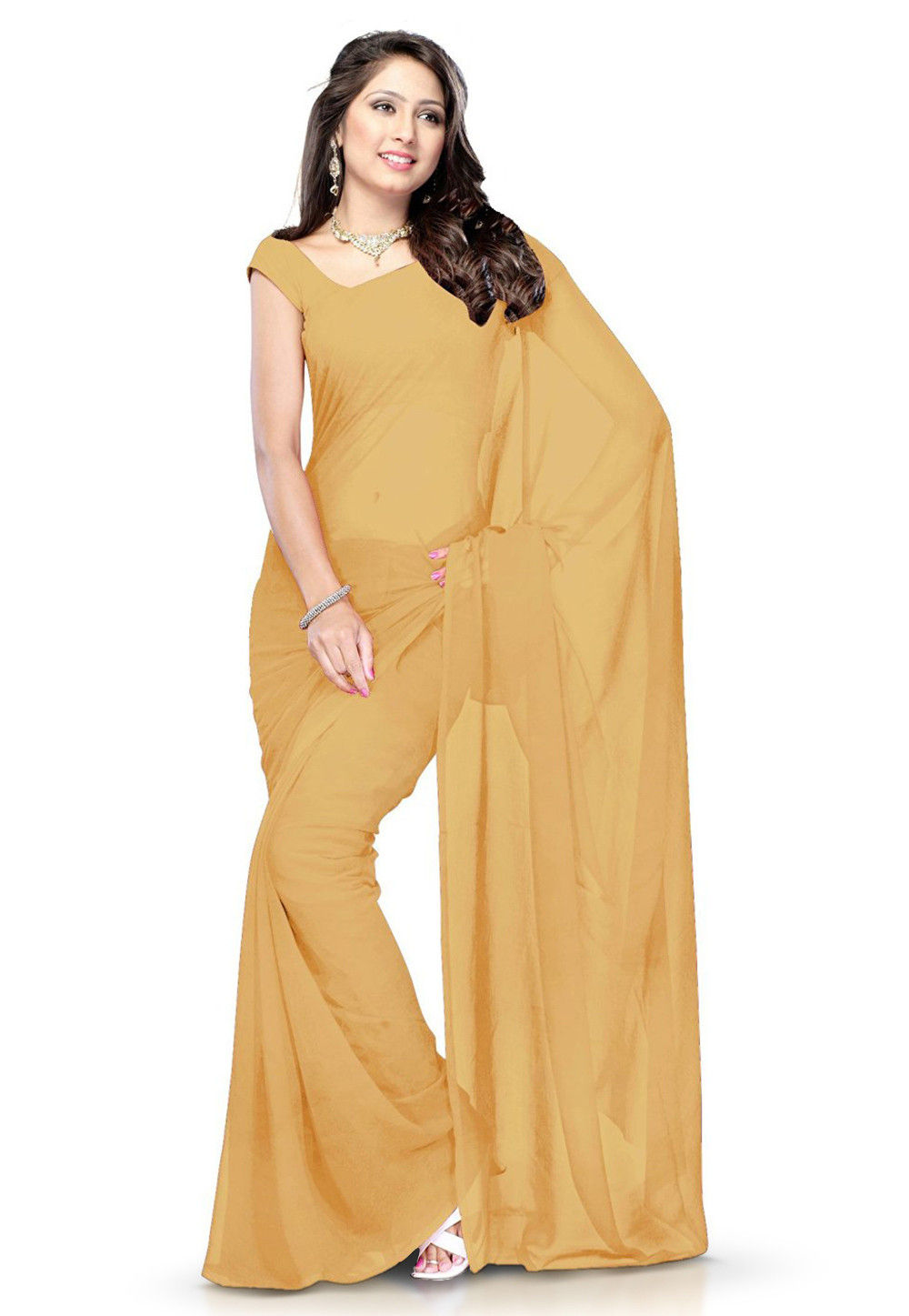 Plain Georgette Saree in Beige