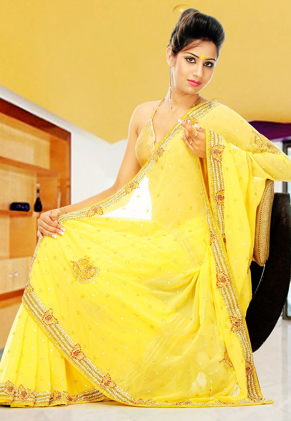 Embroidered Chiffon Saree in Yellow