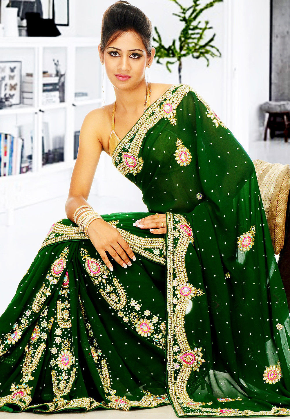Embroidered Georgette Saree in Dark Green